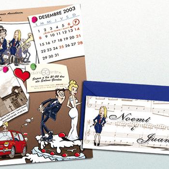 Si en cambio estas buscando unas invitaciones divertidas, puedes optar por las caricaturas. Podrás conseguirlas en Dadacuc quienes las tienen tanto a tamaño folio como en díptico; si no puedes hacerla de lo más personal y original.