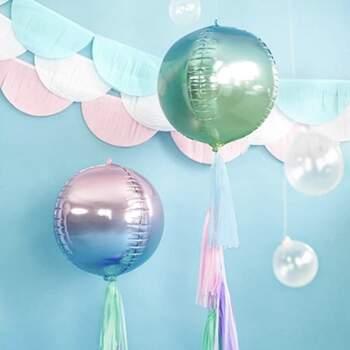 Ballon Foil Sphérique Holographique Bleu et Vert - The Wedding Shop !