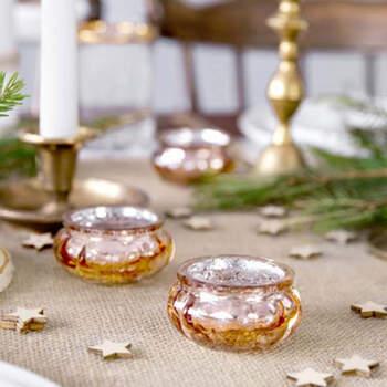 Portavelas de vidrio oro rosa 3 cm 4 pezzi- Compra en The Wedding Shop