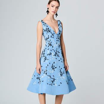 Vine embroidered silk-failleI cocktail dress. Credits- Oscar de la Renta