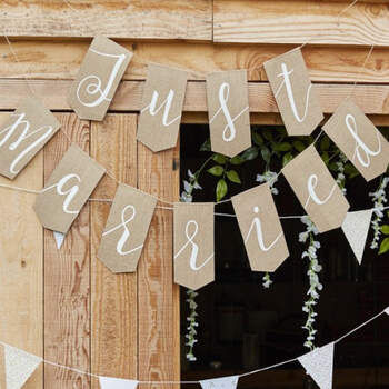 Guirlanda Just Married Rustico- Compra en The Wedding Shop