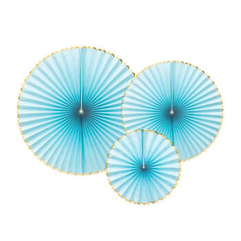 Rosetas decorativas Azules y Doradas 3 piezas- Compra en The Wedding Shop
