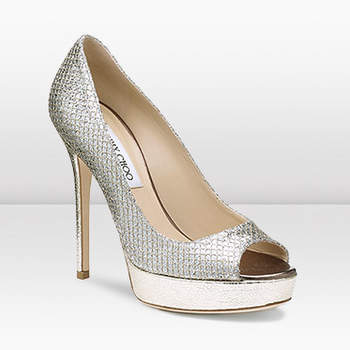 Open toe color argento con plateau oro. Jimmy Choo