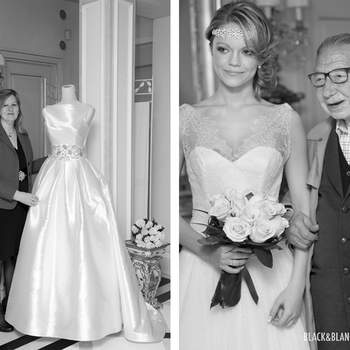 La gran sorpresa del día la dió el diseñador Raimon Bundó que no quiso faltar a esta cita con las novias y apareció sin avisar justo cuando la modelo entraba en el salón. Foto: Belle Day. http://belleday.com/es/