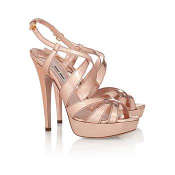 Sandalo a listelli intrecciati fino alla caviglia con tacco altissimo e plateau