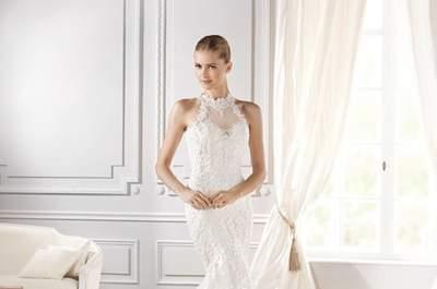 Vestidos de novia cuello halter. ¡Luce un escote ultra femenino en tu gran día!