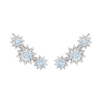 Brincos de três estrelas em prata com pedraria.  Créditos: Aristocrazy