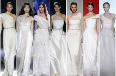 Los vestidos asimétricos son una elegante tendencia entre los vestidos de novia. Foto: Barcelona Bridal Week/ IFEMA