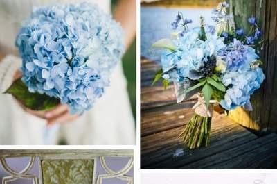Blaue Brautsträuße setzen 2013 farbliche Trends!