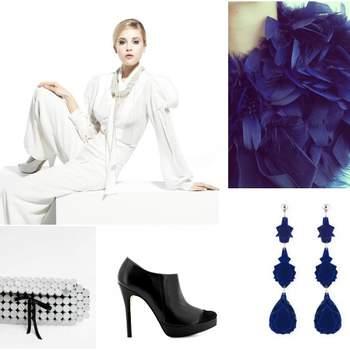 Fotos: Fato de noiva - YolanCris 2013; estola azul - Maçã de Adão;brincos azuis - Baguera; sapatos pretos - Zillian; clutch branca - Há de Haver