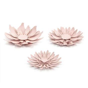 Set de 3 flores decorativas de mesa de color rosa- Compra en The Wedding Shop