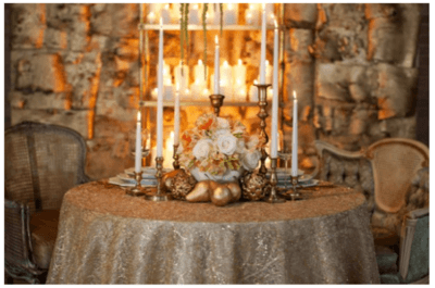 Décoration de tables de mariage inspirée par Noël