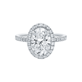 Oval Shaped Diamond Micropavé Engagement Ring. Credits: Harry-Winston.