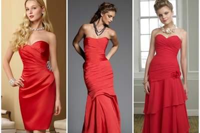Per un matrimonio dal sapore natalizio, sì ad un abito rosso per le invitate! Mori Lee 2013 Bridesmaids. Foto: www.morilee.com