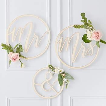 Cìrculo de madera Sr y Sra oro boda 3 unidades- Compra en The Wedding Shop
