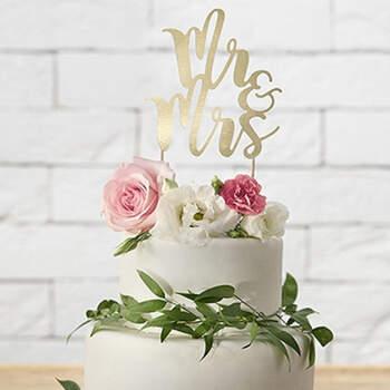 Figura Para Tarta Nupcial Inscripción Mr y Mrs Oro- Compra en The Wedding Shop