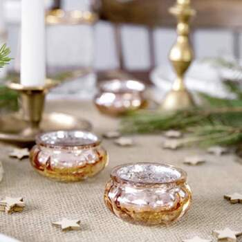 Bougeoirs En Verre Or Rose 3 Cm 4 Pièces - The Wedding Shop !