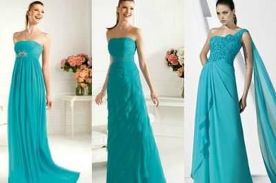 Robes vert menthe, aiguemarine et turquoise pour les invitées d'un mariage