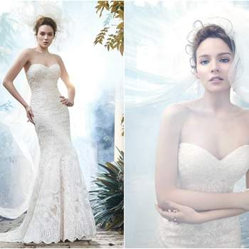 """<a href=""""https://www.maggiesottero.com/maggie-sottero/fredricka/9288"""" target=""""_blank"""">Maggie Sottero</a>  The epitome of bridal bliss is found in this tulle A-line wedding dress, adorned with lace and a stunning scalloped lace hem. Finished with sweetheart neckline and covered buttons over zipper and inner corset closure."""