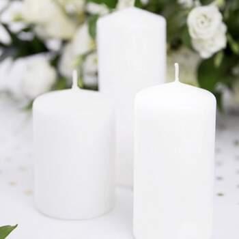 Bougie Décotative Blanche Opaques Grandes 6 Pièces - The Wedding Shop