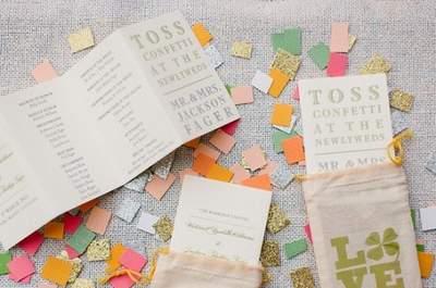 Dekoration aus Konfetti: Inspiration für eine Silvester-Hochzeit!