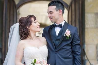 Laura et Mike : un joli mariage chic et champêtre aux délicates touches dorées.