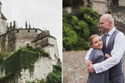 Sesja ślubna w Chateau de Menthon-Saint-Bernard we Francji to skarb!