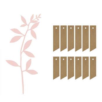 Marcasitio Ramitas Rosa Con Etiqueta y Rafia 6 unidades- Compra en The Wedding Shop
