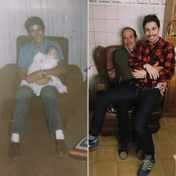Este puto aos 24 anos era pai e usava meias brancas. E eu com 30 ainda me sento ao colo dele.