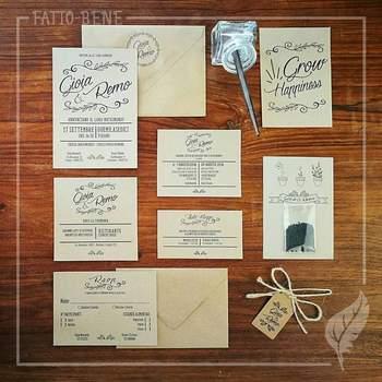 Fatto-Bene: non solo le partecipazioni di nozze saranno importanti, fatevi aiutare nel realizzare un coordinato per l'evento così da creare una continuità nei particolari, partendo dal tableau mariage arrivando fino ai segnaposti del tavolo.