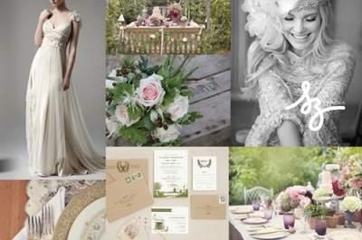 Collage de inspiración para una boda clásica vintage estilo boho chic