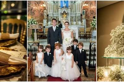 Isabella e Daniel: casamento clássico glamouroso em tradicional igreja de Minas