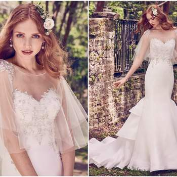 "Beaded lace motifs and Swarovski crystals accent the bodice, sweetheart neckline, and illusion scoop back in this Cameo Organza wedding dress, featuring a fit-and-flare skirt with tiered train. Finished with crystal buttons over zipper closure. Tulle capelet accented in beading and Swarovski crystals sold separately.    <a href=""https://www.maggiesottero.com/maggie-sottero/quintyn/11185?utm_source=zankyou&amp;utm_medium=gowngallery"" target=""_blank"">Maggie Sottero</a>"