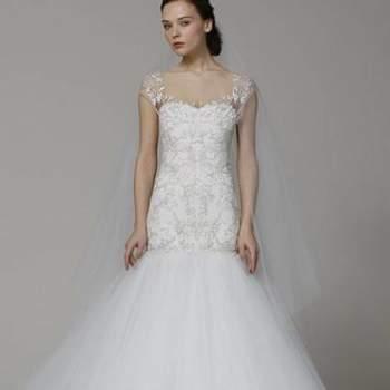 Marchesa presentó vestidos de novia que parecían sacados de un cuento. Foto: Marchesa.