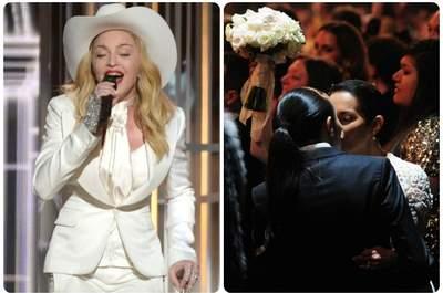 Madonna alla 56esima edizione dei Grammy Awards, mentre 34 coppie coronano il loro sogno di 'Same Love'. Foto via grammy.com