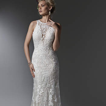 Timeless and elegant, this lace sheath wedding dress features a modern illusion deep V halter neckline, a stunning, scalloped plunging back, and illusion straps. Finished with covered buttons over zipper closure. <img height='0' width='0' alt='' src='http://ads.zankyou.com/mn8v' />
