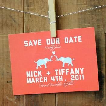 Save the Date, carte en lin Boutique 26Sorts sur Etsy.com