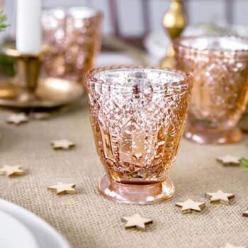 Portavela de vidrio oro rosa 8cm 4 pezzi - Compra en The Wedding Shop