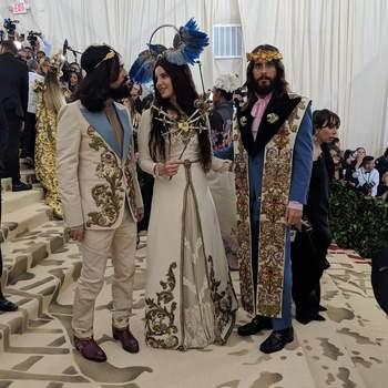 Jared Leto, Lana del Rey e Alessandro Michelle, todos em Gucci | Foto: IG Met