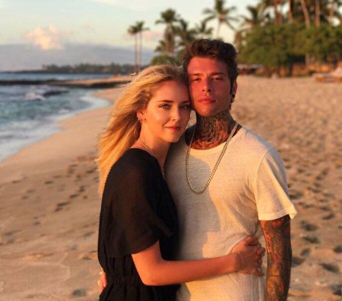 Indiretta sui social, la pre-honeymoon dei due 'ravioli' più famosi del web. Foto via instagram.com/chiaraferragni/