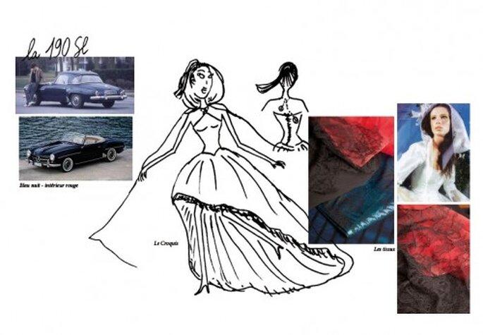 Zélia créatrice de robes de princesses expose chez Mercedes Benz sur les Champs Elysées. Photo: Zélia sur la Terre comme au Ciel.
