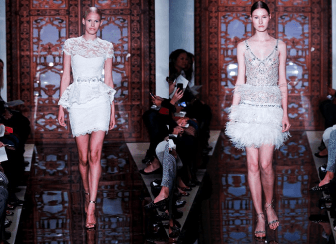 Vestidos de novia cortos con inspiración charlestón y siluetas favorecedoras - Foto Reem Acra