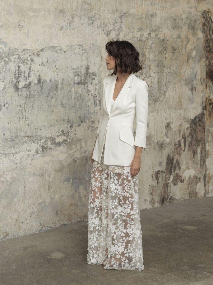vestido de novia con blazer