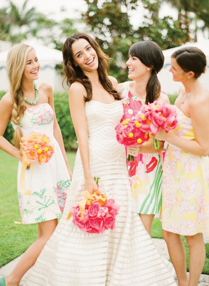 Ramos de novia y para tus damas de boda inspirados en colores cítricos - Foto KT Merry Photography