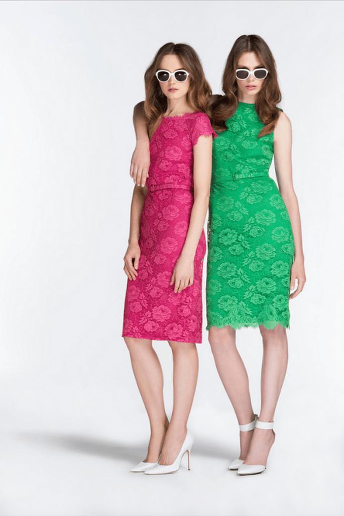 Vestidos de fiesta 2014 en color verde intenso y rosa pop - Foto Reem Acra