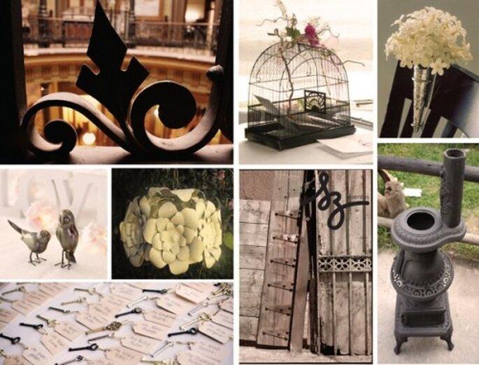 Decora tu boda con elementos metálicos para darle personalidad - Fotos Thoughtfullysimple.com, Stylebymilyhenderson.com y images04.olx.com