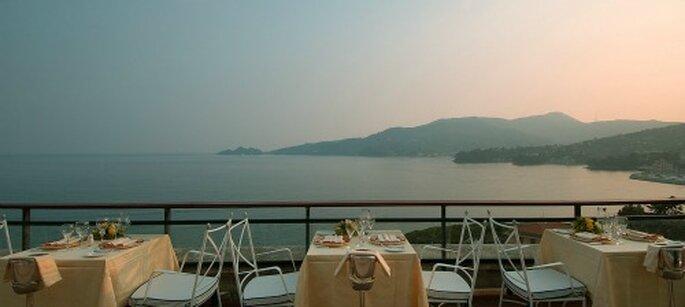 Terrazza panoramica del ristorante Chamberlain. Foto: grandhotelbristol.it