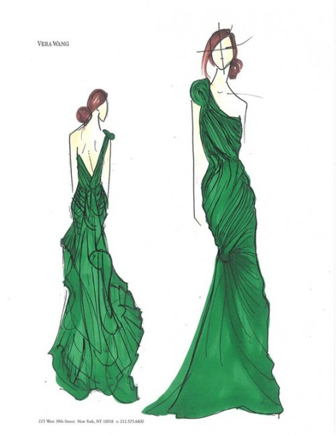 Vestido de fiesta en color verde esmeralda con escote asimétrico - Foto Vera Wang Facebook