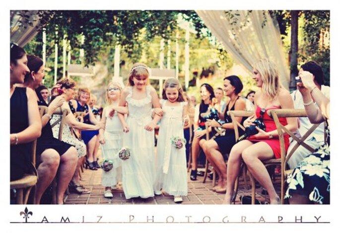 Las pajes lucieron vestidos lindos en color blanco - Foto Tamiz Photography