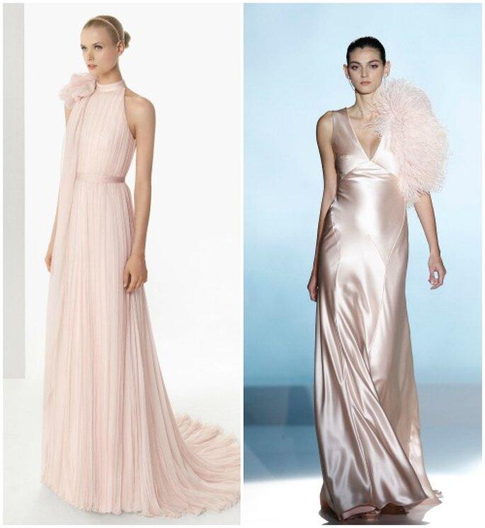 Due modelli rosa, in chiffon e in raso, firmati Rosa Clarà 2013. Foto www.rosaclara.es